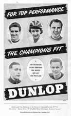 Dunlop Bicycle Tyres Advert. (Paris-Roubaix) Tags: road bicycle vintage cycling hall concert time albert sid joy ken royal bob 1954 souvenir patterson council british harris eileen sheridan reg trials champions tyres dunlop programme the maitland rttc