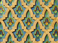 Moroccan Tile (PhoenixRoofing164) Tags: africa blue sunset green texture geometric floral architecture tile ceramic pattern arch mosaic background islam traditional religion north mosque arabic morocco arab ii casablanca hassan ornate islamic hassanii