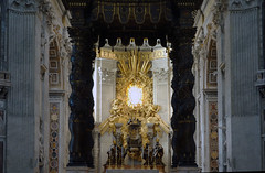 Bernini, Baldacchino, view to Cathedra Petri