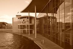 sePiAUL LWE HOUSE (xfoTOkex) Tags: city travel urban reflection berlin tourism sepia architecture buildings reflections river germany deutschland nikon architektur 28 tamron spree spiegelung stad d800 huser spiegelungen 2470 captial torist travelshot