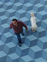 """Like walking through an Escher painting"" - Alicante, Spain (TravelsWithDan) Tags: dog spain candid ngc fromabove alicante lookingdown escher walkingthedog beachwalkway worldtrekker likeanescherpainting"