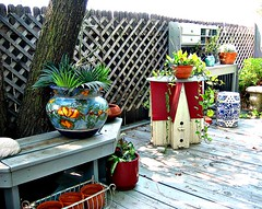 Potting Table - Bird House Table - Tree Bench (YourCastlesDecor) Tags: plants bench planters birdhouse deck porch backporch pottingtable onthedeck pottingbench