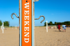 Weekend (Andy Marfia) Tags: chicago net beach sign iso100 sand weekend lakemichigan pole f45 uptown volleyball courts hook lakefront montrosebeach 12500sec d7100 1685mm