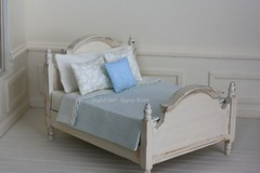 sweet bed <3 (*Joyful Girl ♥ Gypsy Heart *) Tags: blue french bed antique country stripe cream etsy distressed joyfulgirlgypsyheart
