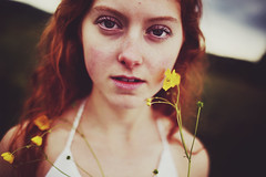 Buttercup (Viedelamort) Tags: portrait white green film girl beautiful yellow canon hair ginger model eyes buttercup mark iii short 5d canon5d emotions detailed grogeous indegogo
