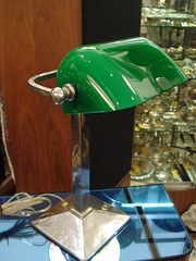 "GREEN SHADE CHROME DESK LAMP, C. 1915. • <a style=""font-size:0.8em;"" href=""http://www.flickr.com/photos/51721355@N02/14391710186/"" target=""_blank"">View on Flickr</a>"
