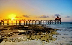 How about a sunset shot with some rocks and a pier in the foreground? (Rex Montalban Photography) Tags: sunset mexico pier playadelcarmen hdr mayanpalaceresort rexmontalbanphotography bracketed8images