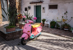 Pink Scooter in the Courtyard - Marbella, Spain (ChrisGoldNY) Tags: city travel pink urban canon poster spain europe european forsale andalucia espana vehicles spanish viajes posters albumcover scooters bookcover bookcovers marbella courtyards albumcovers licensing chrisgoldny chrisgoldberg chrisgold chrisgoldphoto chrisgoldphotos