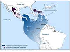 Figure 1: The Source, Transit, and Arrival Zones and the Percentage of Estimated Noncommercial Maritime Vessel Flows of Cocaine in Fiscal Year 2013, by Smuggling Route (U.S. GAO) Tags: coastguard southamerica justice puertorico aircraft pacificocean congress crime government dhs defense lawenforcement watchdog usvirginislands gao oversight caribbeansea departmentofhomelandsecurity drugsmuggling drugtrafficking violentcrime governmentaccountabilityoffice usgao transitzone governmentwatchdog alienmigrantinterdiction usgovernmentaccountabilityoffice unitedstatesgovernmentaccountabilityoffice druginterdictionoperations usnationaldrugcontrolstrategy