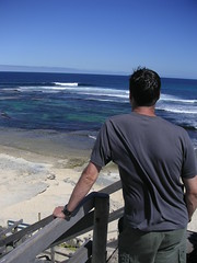 If Only I Had My Board (Tony 5) Tags: ocean blue sea wild sky plants man seaweed nature water bush sand rocks surf waves native awesome horizon steps cliffs surfboard vegetation colourful reef margaretriver westernaustralia cliffface