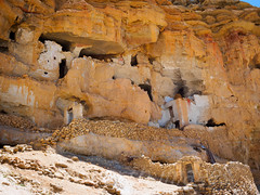 Chhoser caves (whitworth images) Tags: nepal houses ancient asia nobody nopeople cliffs caves mustang himalaya cavedwellings restrictedarea uppermustang cavehouses lomanthang garphu annapurnaconservationarea chhoser choser niphu