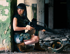 *** (Artfrost) Tags: red anna hk black game hot sexy girl beauty soldier army person dangerous model war gun fighter military rifle helmet apocalypse bad hero scifi warrior heroin brunette russian armed armalite aimpoint g36 artfrost hkg36 riflle