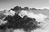 Aiguilles de Chamonix (Stefsan (on and off)) Tags: light shadow blackandwhite bw mountains alps nature weather clouds contrast canon landscape eos mono 7d glaciers chamonix montblanc aiguilledumidi aiguillesdechamonix montblancmassif aiguilleduplan alpinelandscape aiguillevert lesdroites stefsan arc'teryx granderocheuse ©stefansandmeier arcteryxalpineacademy