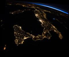 Bright Italian Boot (sjrankin) Tags: italy panorama rome night lights europe edited cities nasa citylights sicily lightning limb iss mediterraneansea adriaticsea italianboot earthslimb iss040 iss040e80970 iss040e80971 30july2014