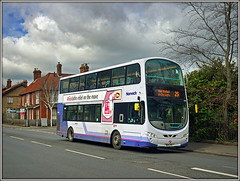 First Eastern Counties 36172, Norwich (Jason 87030) Tags: uea university education first easterncounties norfolk wright gemini eclipse bus 36172 livery colmanroad work sony alpha a6000 nex lens shiot roadside bd11cfv 25 doubledecker blueline
