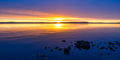 Morning by the Sea (Jens Haggren (off for a while)) Tags: sun sunrise morning sea seascape water sky clouds colours stones reflections nacka sweden jenshaggren