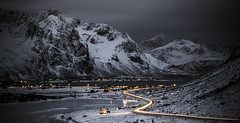 Road to Vareid (christian.denger) Tags: norway lofoten vareid night mountain lights tamron snow atlantic northern travel