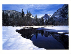 postcard - Yosemite Valley (Jassy-50) Tags: postcard yosemitenationalpark yosemite nationalpark park unescoworldheritagesite unescoworldheritage unesco worldheritagesite worldheritage whs mercedriver river halfdome snow winter reflection mountain yosemitevalley
