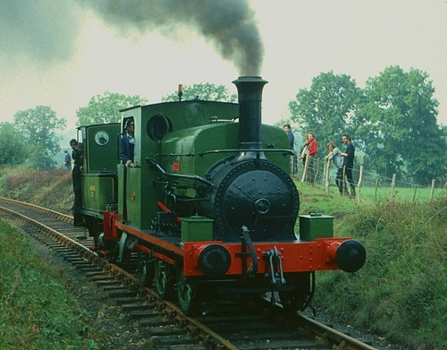 "K&ESR ""Arthur"" hauling ""Marcia"" on Tenterden bank in 1976"