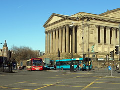 Buses at St George's Hall, Liverpool. (miledorcha) Tags: arriva merseyside liverpool daf vdl halton borough transport 16 dk60aho adl alexander dennis ltd enviro 200 low floor service route bus buses 61 stgeorgeshall st georges hall lime street psv pcv neoclassical widnes style architecture england travel holiday city urban mersey merseybus river