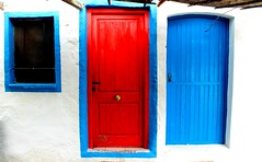 Spanish doors in bright sunlight Javea Spain #dailyshoot (Leshaines123) Tags: spain javea xabia colour canon eos red blue beach rectangle rule thirds facebook dailyshoot exposure composition europe