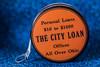 Orange City Loan Tape Measure (NedraI) Tags: candlestickholder fiestaware tapemeasure macro blueandorange vintage ohio fiesta thecityloan vintagematerial