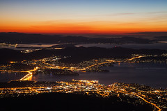 From The Top || MOUNT WELLINGTON || HOBART (rhyspope) Tags: australia aussie tas tasmania hobart mt mount wellington sunrise view vista dawn rhys pope rhyspope canon 5d mkii kunanyi city lights top mountain lake sea ocean water