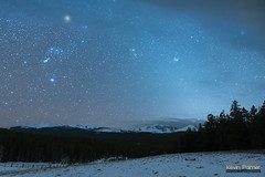 Light of the Zodiac (kevin-palmer) Tags: night sky stars astronomy astrophotography dark bighornmountains wyoming nikond750 march spring snow snowy evening tamron2470mmf28 loafmountain overlook zodiacallight orion bighornpeak blue glow trees forest starry betelgeuse halo fence cloud buffalo astrometrydotnet:id=nova2006866 astrometrydotnet:status=solved