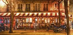 La Bonaparte (albyn.davis) Tags: paris france europe motorcycles night light lights awning windows restaurant city urban travel vacation building color reddish brown golden