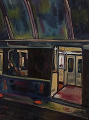 Metro sleeper (The Big Jiggety) Tags: oil painting peinture huile pintura oleo lienzo toile canvas art arte kunst metro metpo urban tube underground tableau train zug tren sleeper dormeur durmiente schlaffer
