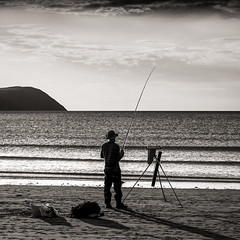 Gone fishing.... (AJFpicturestore) Tags: pembrokeshire wales theparrog newportbay gonefishing monochrome blackwhite square alanfoster