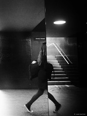 BiPolar (René Mollet) Tags: pipolar reflection woman underground mirror step street streetphotography shadow silhouette station sbb blackandwhite bw schwarzweiss streetart streetphotographiebw monchrom monochromphotographie renémollet stairs