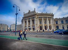 Theater in Vienna, Austria (` Toshio ') Tags: toshio burgtheater vienna austria europe european europeanunion theater people city austrian street architecture history cars clouds sidewalk fujixe2 xe2