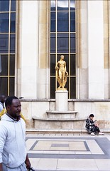 Golden (Stephanie Overton) Tags: paris france travel 35mm olympus om10 50mm film kodak iso400 europe capital city gold golden statue