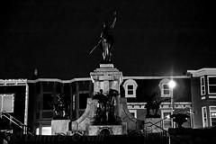 A Rainy Night in St. John's 1 (LongInt57) Tags: monument statue house night dark nighttime light bw monochrome black white grey gray saintjohns stjohns newfoundland canada raining rain war memorial
