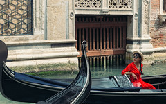 Gondola ride (V Photography and Art) Tags: gondola woman reddress polcadot candid venice venezia canl facade water door windows cinematic