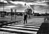 Un autèntic pas zebra.  (Ciutat dels negocis - Barcelona - Catalunya) (Antoni Gallart i Vilarrasa) Tags: d800 zebra cebra paszebra pasocebra crossing home homezebra hombre hombrecebra man zebraman ciutat ciudad city negocis negocios business hospitalet lhospitalet bn bw 2017