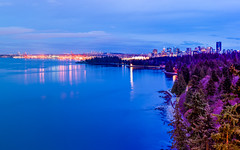 Colorful Vancouver Harbor (^Baobab^) Tags: vancouver canada vancouverharbor vancouvercity vancity britishcolumbia cityscape skyline night dusk stanleypark harbor water