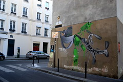 Ludo (Ausmoz) Tags: paris street art streetart rue urbain urban mur murs wall walls sticker stickers poster posters collage collages pasteup ludo vert green nature revenge 75011
