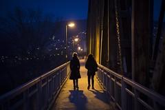 Railway Bridge, Veles (Duncan R S Harvey) Tags: mace fyrom veles balkans southerneurope easterneurope europe former yugoslavia night bridge railway woman women walking streetlights streetphotography canon6d