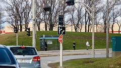 Half Stop (caribb) Tags: montreal montréal quebec québec canada urban city 2017 street streets eastend stleonard sign stopsign intersection road confusing