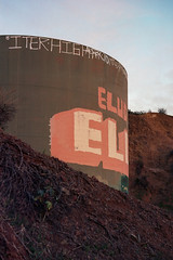 El (ADMurr) Tags: leica m4 kodak 200 evening griffith park water tank el cab710 2015 orange green cylinder lettering grafitti la los angeles