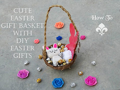 How to make a cute easter gift basket with DIY easter gifts a (DIY Empress) Tags: diy easter easterdiys happyeaster cute eastergifts giftbasket howto tutorial beautiful bunnies easterbunnies bunny blogger inspiration make basket bunnykeychain keychain necklace polymerclay mseal creativityfound pompom
