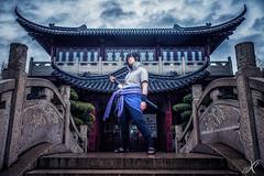 Sasuke Uchiha (WorldXPhotography) Tags: blau chidori raikiri sasuke uchiha naruto shippuuden sword katana temple asia luisenpark mannheim cosplay