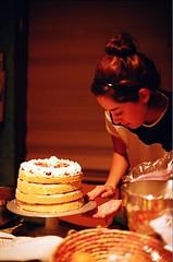 Ellen Makes Strawberry Chiffon Cake (jjldickinson) Tags: food cooking cake dessert baking strawberry longbeach wrigley nikkor nikonf fujicolorsuperiaxtra400 nikkors50mmf14 nikonfphotomicftn ellendickinson tiffen52mmsky1a strawberrychiffoncake roll508n