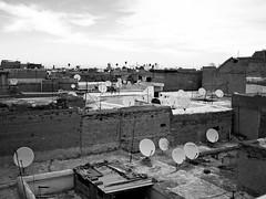 Les toits de Marrakech (Dahrth) Tags: roof sky blackandwhite bw rooftop rooftops noiretblanc roofs ciel morocco maroc marrakech parable riad parabole tvantenna paraboles antennedetlvision panasoniclumixgf1 lumix20mm gf120