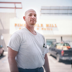 Pete (daviddinwiddie) Tags: california ca portrait white man color guy 120 film bar analog square gold golden kodak burger parking hill lot grill iso pineapple magnolia pete medium format asa oaks saloon yaki portra yashica sherman 160 635 160asa yashica635 160iso