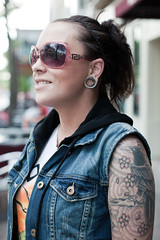 156/365 (local paparazzi (isthmusportrait.com)) Tags: blue shadow portrait reflection cute bird girl smile muscles sunglasses metal tattoo ink canon outdoors eos 50mm iso200 interesting pod eyes downtown pretty raw afternoon dof arms flat bokeh buttons f14 teeth awesome side badass profile ripped sunny ears shades jeans attitude portraiture friendly desaturated usm crow madisonwi scared rims jpeg raven sideprofile ef bun jami gauges inked 2014 canonraw cr2 isthmus canon50mmf14usm 50mmf14usm 365project danecountywisconsin notastranger photoshopelements7 canon5dmarkii pse7 localpaparazzi lopaps isthmusportrait redsyrocketman