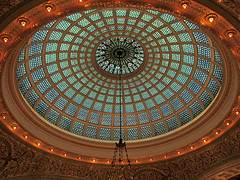 The Tiffany dome (debstromquist) Tags: chicago illinois downtown stainedglass il theloop domes 1897 chicagoculturalcenter nationalregisterofhistoricplaces chicagolandmark prestonbradleyhall tiffanyglassdome formerchicagopubliclibrary