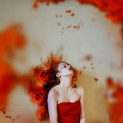 The Burning (Abby Kroke) Tags: red orange woman hot girl beauty face lady female hair fire pain pretty dof dress adult emotion burning flame burn teenager lovely emotional tones burned